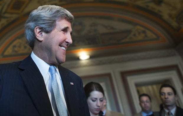 O senador John Kerry, futuro secretário de Estado dos EUA, nesta terça-feira (29) no Capitólio (Foto: AP)