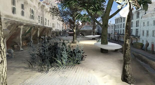 Israelense sugere acoplar peças 3D a árvores e pedras para redefinir design urbano (Foto: Divulgação)