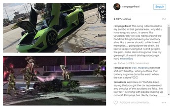 Rampage Jackson perde Lamborghini de luxo por combustão instantânea