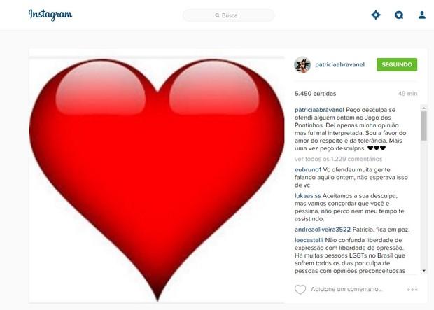 Post de Patricia Abravanel se desculpando por declarações polêmicas (Foto: Reprodução/Instagram)