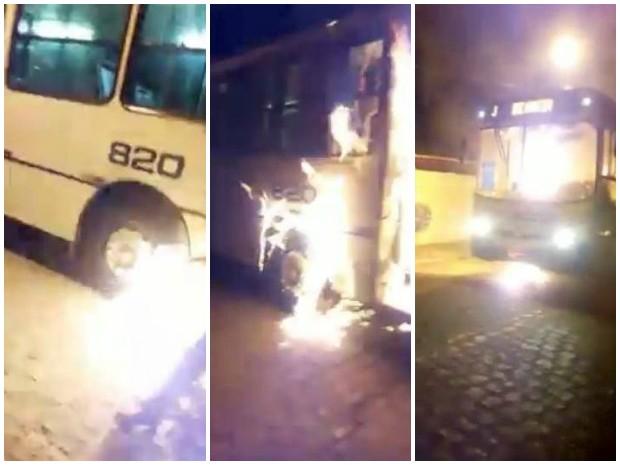 Ônibus incendiado por criminosos em Parnamirim, RN (Foto: Reprodução)