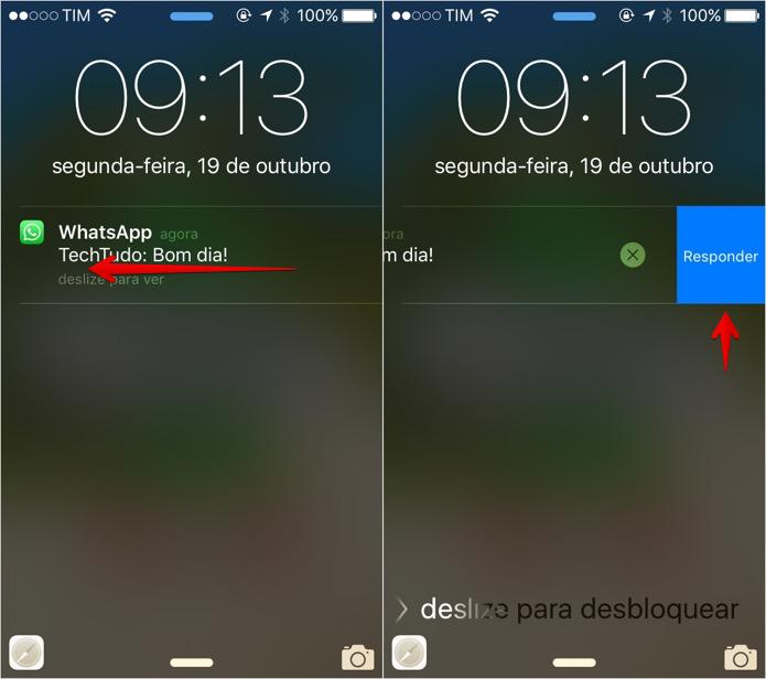 Deslize a notificação para a esquerda (Foto: Reprodução/Helito Bijora)