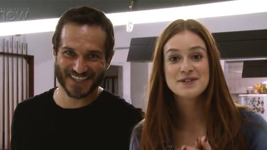 Marina Ruy Barbosa e Paulo Rocha fazem aula de sinuca para nova novela das 7