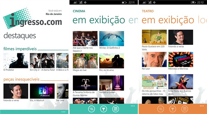 Ingresso.com finalmente chegou ao Windows Phone trazendo entradas para cinemas, teatros e shows (Foto: Divulgação/Windows Phone Store)