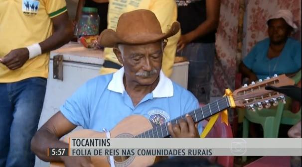Folia de Reis nas comunidades do Tocantins. (Foto: TV Anhanguera; Tocantins; Folia dos Reis)