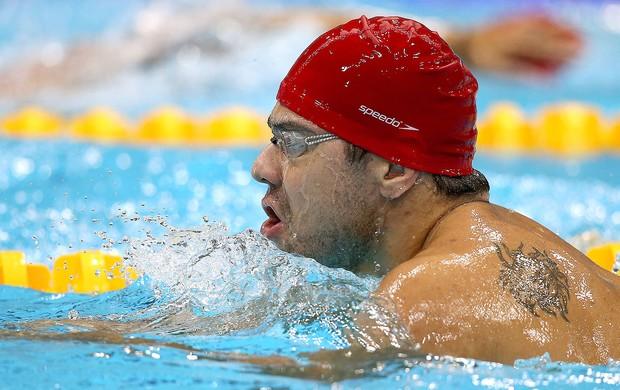 Felipe França no treino de natação em Londres (Foto: Satiro Sodré / Agif)