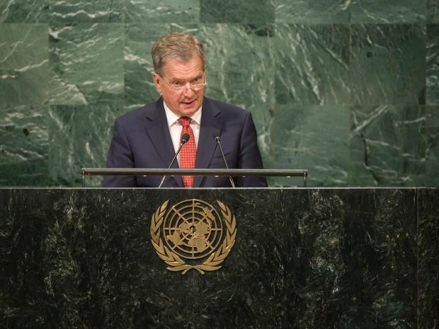 Presidente da Finlndia discursa na sede da ONU, em Nova York (Foto: Divulgao/ONU)
