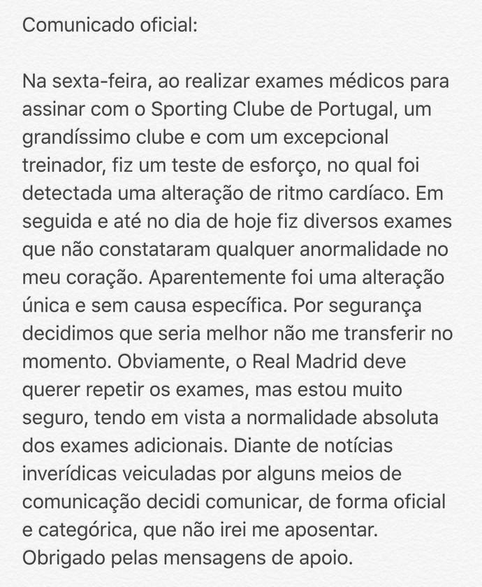 Comunicado Lucas Silva (Foto: Reprodução)