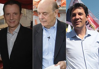 Celso Russomanno, José Serra e Fernando Haddad, candidatos à Prefeitura de São Paulo (Foto: Divulgação)
