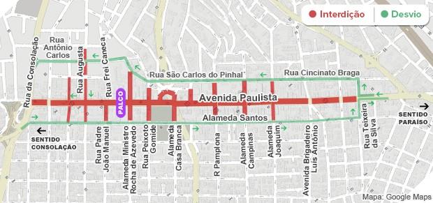 Mapa das interdições na Avenida Paulista - 5h30 (Foto: Arte/G1)