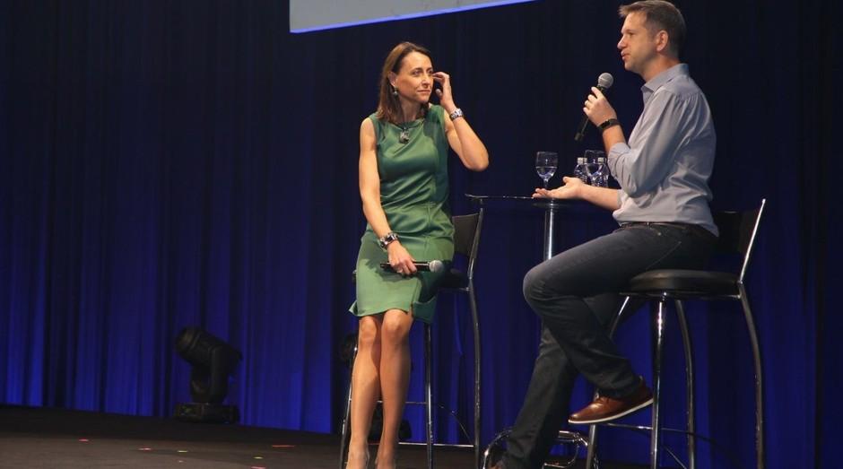 Cristina Palmaka, CEO da SAP Brasil, e Flavio Pripas, diretor do Cubo, durante o SAP Fórum (Foto: Divulgação)