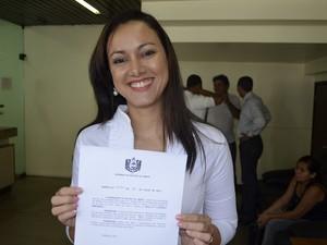 Fisioterapeuta Elziliam Aranha, 35 anos, foi empossada nesta terça-feira (23) (Foto: Abinoan Santiago/G1)