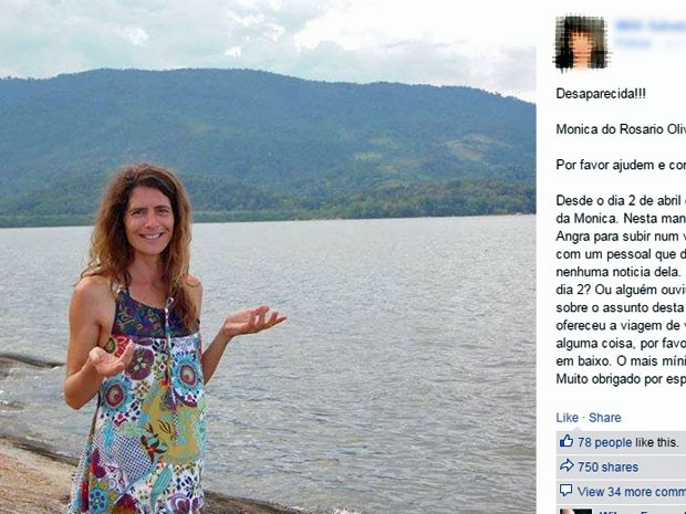 Corpo de Monica do Rosario Oliveira foi achado em Ilha Grande (Foto: Reprodução/Facebook)