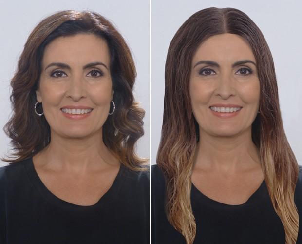 Fátima com cabelão (Foto: Encontro com Fátima Bernardes/ TV Globo)