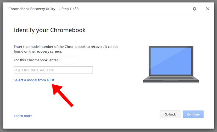Informe o modelo do Chromebook (Foto: Reprodução/Paulo Alves)