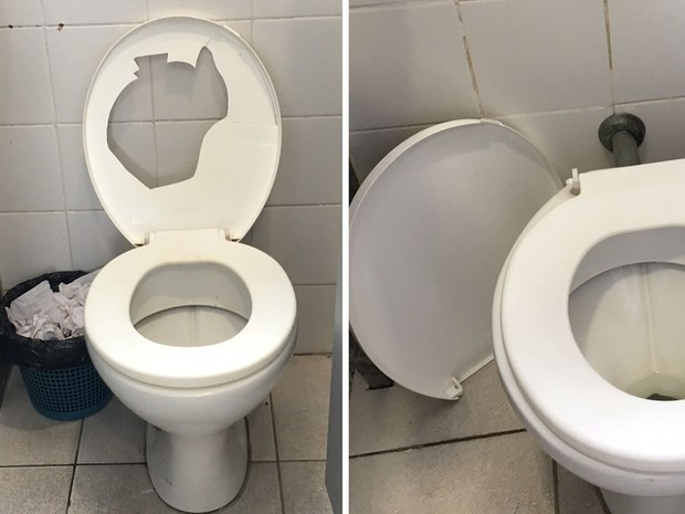 Tampas de vasos sanitários dos banheiros femininos estavam quebradas (Foto: Fernanda Rouvenat / G1)