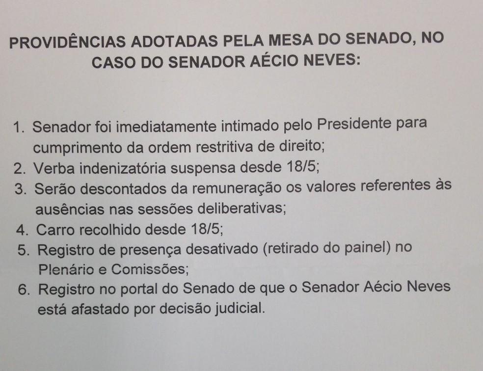 Em nota de esclarecimento, Senado informa que salário de Aécio Neves será mantido, mas terá desconto (Foto: Reprodução/Senado)