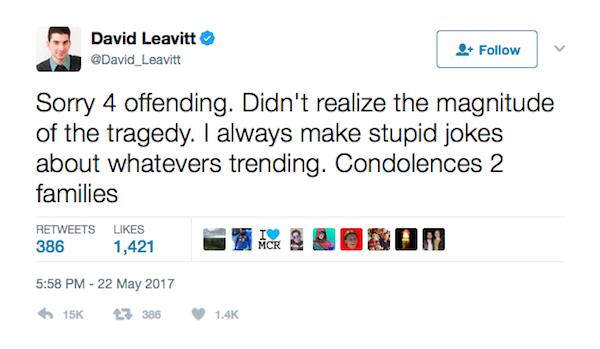 O jornalista americano pede desculpas por sua piada sobre o atentado no show de Ariana Grande (Foto: Twitter)