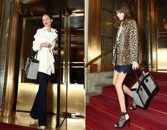 Travel with style: a modelo Coco Rocha e a apresentadora Alexa Chung exibem suas totes de Jason Wu no hotel novaiorquino (Foto: Divulgação)