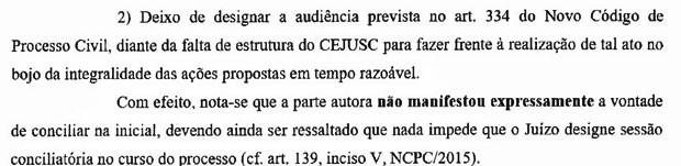 Decisão da Comarca de Itaquaquecetuba, interior de SP, alega falta de centros de conciliação para realizar audiências obrigatórias pela nova lei (Foto: Reprodução)