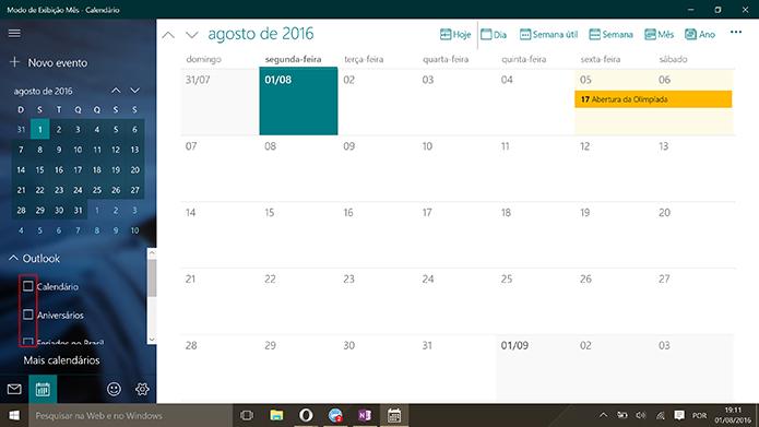 Calendário do Windows 10 pode ter compromissos filtrados (Foto: Reprodução/Elson de Souza)