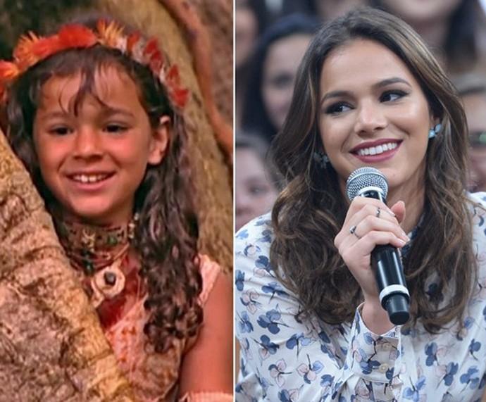 Bruna Marquezine criança e hoje, uma linda mulher  (Foto: Aquivo pessoal/ Zé Paulo Cardeal/TV Globo)