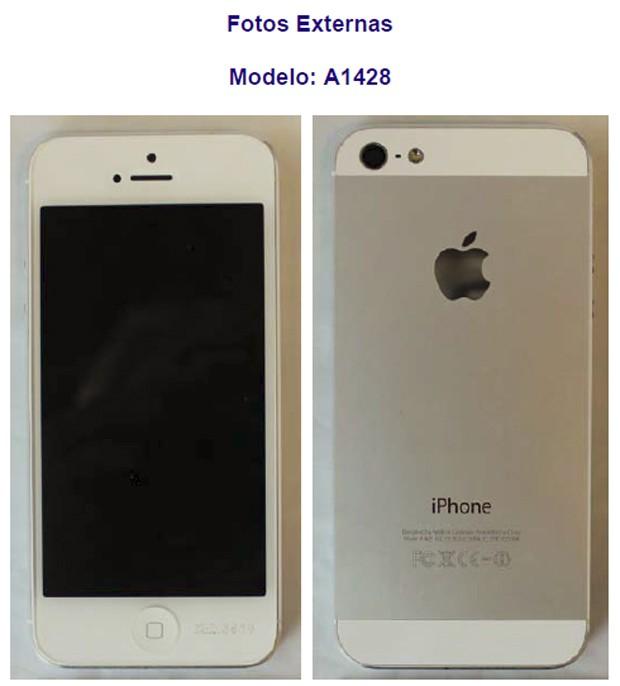 Imagens do iPhone 5 divulgadas no certificado emitido pela Anatel (Foto: Reprodução)
