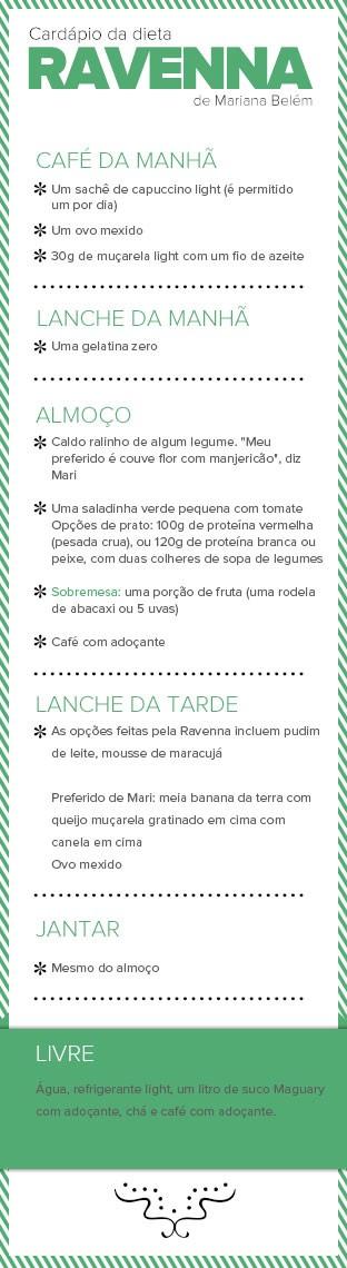 Cardapio da dieta Ravenna de Mariana Belém (Foto: EGO)