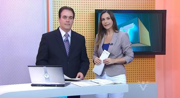 Vanessa Machado e Tony Lamers no Jornal da Tribuna 1ª Edição (Foto: divulgação)