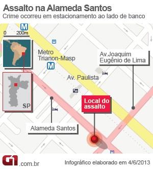 mapa assalto (Foto: Arte G1)