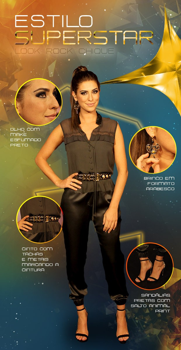 Fê Paes Leme usa look rocker com macacão preto e cinto dourado (Foto: SuperStar / TVGlobo)