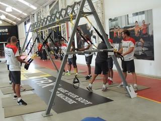 Jogadores do Inter trabalham na academia em Gramado (Foto: Tomás Hammes / GLOBOESPORTE.COM)