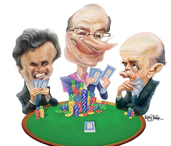Caricatura de Aécio Neves, Geraldo Alckmin e José Serra (Foto: Lézio Junior )