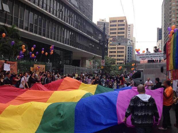 Grupo a favor da inclusão de gênero no plano municipal de educação estende a bandeira do movimento LGBT (Foto: Roney Domingos/G1)