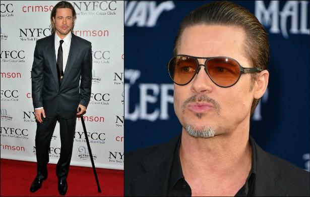 Brad Pitt é outro que já precisou de bengala em tapetes vermelhos, após ter lesionado o joelho numa estação de esqui, enquanto carregava a filha Vivienne. Ao menos menina não saiu ferida do episódio. (Foto: Getty Images)