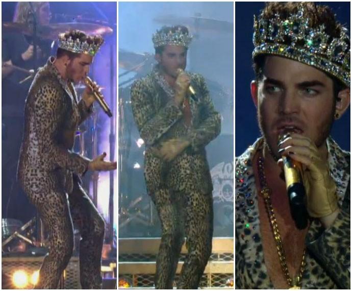 Mais um look de Adam Lambert: look animal print com coroa (Foto: Gshow)