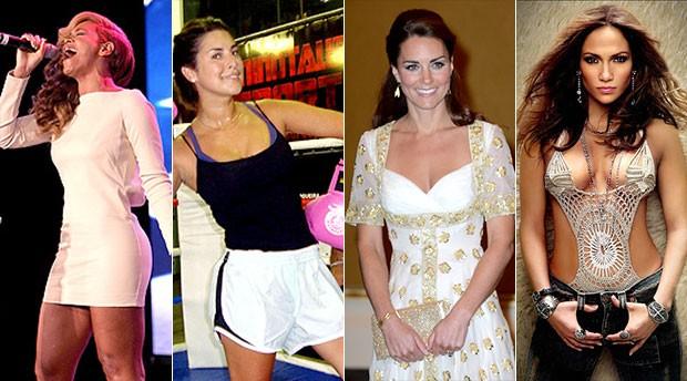 Montagem Beyoncé, Fernanda Paes Leme, Kate Middleton, Shakira (Foto: Editoria de Arte / GLOBOESPORTE.COM)