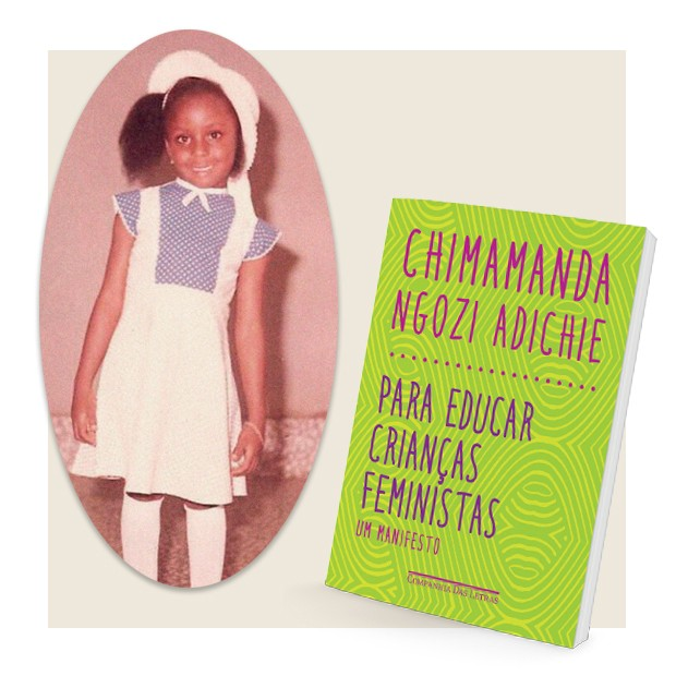A escritora quando criança e o livro (Foto: Akintunde Akinleye e Divulgação)