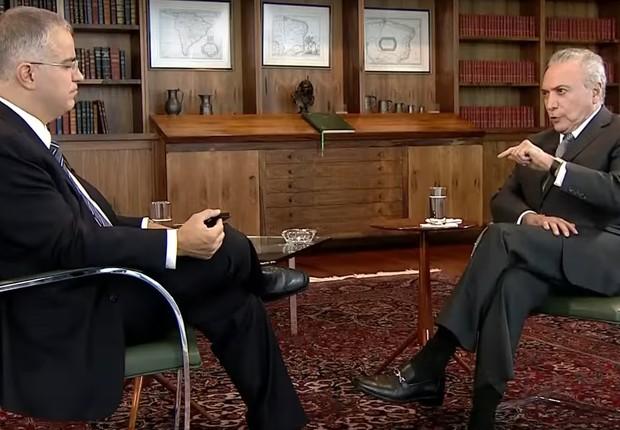 Michel Temer em entrevista ao SBT Brasil nesta segunda-feira (Foto: Reprodução)
