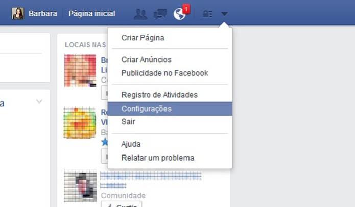 Acesse as configurações do Facebook (Foto: Reprodução/Barbara Mannara)