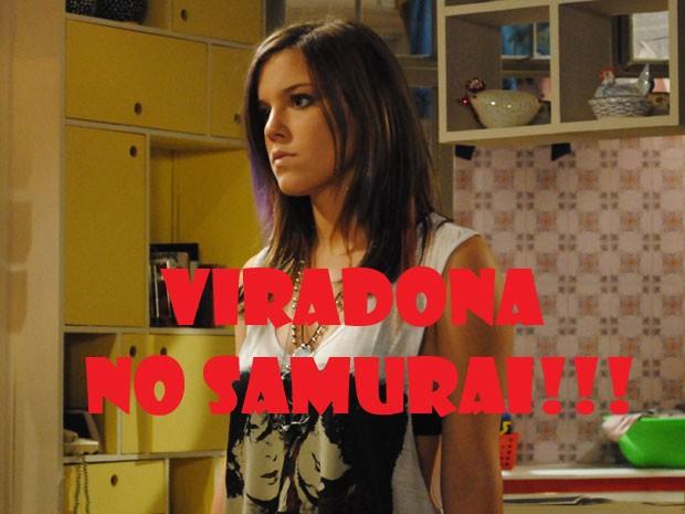 Lia tá muito bolada, glr! Olha a cara de virada no samarai da marrentinha! (Foto: Malhação / Tv Globo)
