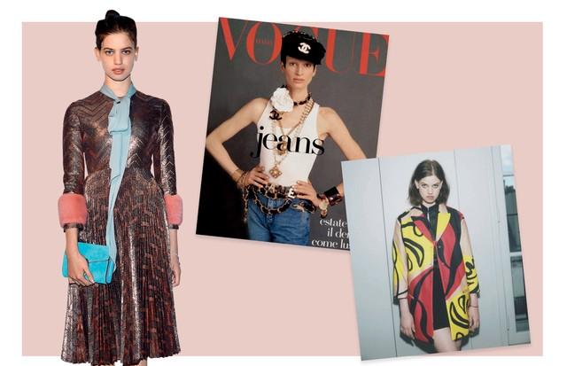 À esquerda, Lily vestindo Gucci, e, à direita, na campanha da Iceberg, em 2015. No centro, Kristen em capa da Vogue italiana de 1992 (Foto: Gettyimages, Reprodução Instagram e Divulgação)