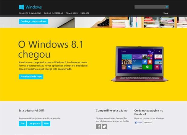 Site da Microsoft Brasil para download do Windows 8.1 faz atualização, mas ainda não tem venda on-line do sistema. (Foto: Reprodução/Microsoft)