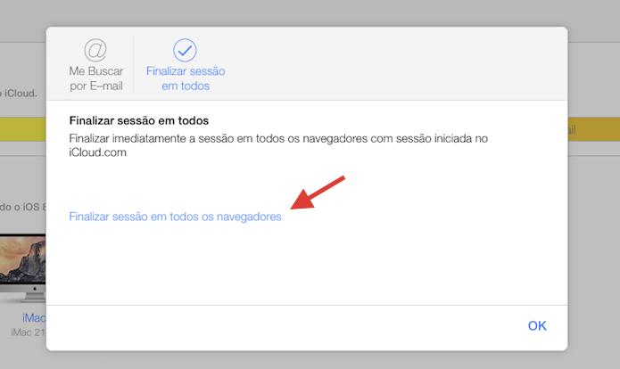 Iniciando a ação para finalizar todas as sessões do iCloud.com abertas em navegadores web (Foto: Reprodução/Marvin Costa)