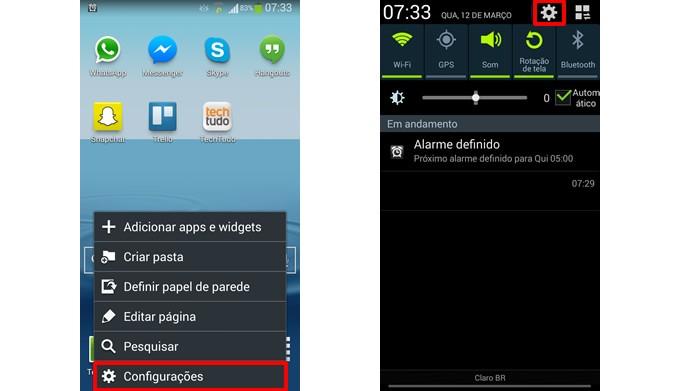 Acesse o menu de configurações do Android (Foto: Reprodução/Daniel Ribeiro)