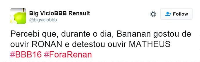 Renan gostou d Ronan e não de Matheus - domingo dia13 twitter (Foto: TV Globo)