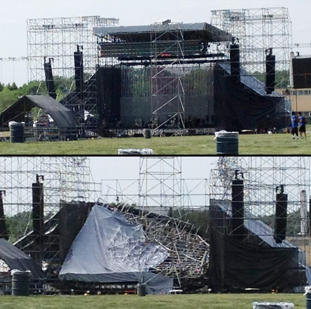 Palco do show do Radiohead no Canad&#225; antes e depois de cair, na tarde deste s&#225;bado (16) (Foto: Alexandra Mihan/Reuters)