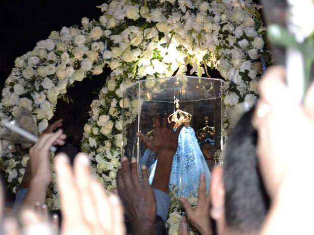 Imagem de Nossa Senhora da Penha acompanhou romeiros durante todo o percurso, Festa da Penha Espírito Santo (Foto: Viviane Machado/ G1 ES)