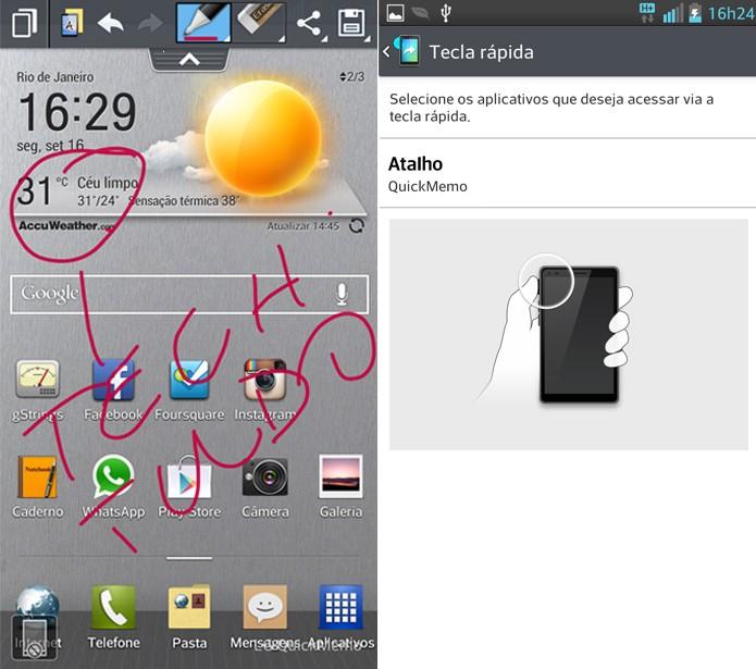 QuickMemo: você pode anotar a tela e depois salvar apenas apertando um botão (Foto: Reprodução / Fabrício Vitorino)