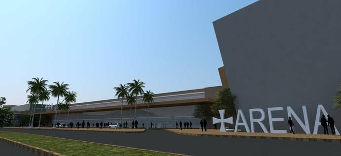 Fachada do clube deve ser totalmente remodelada e no projeto existe a previsão da construção de um open mall, com cinema e estacionamento  (Foto: Divulgação/Cristal Empreendimentos Imobiliários)
